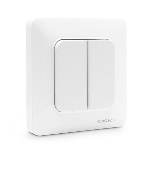 interrupteur connecté blanc 2 boutons sans pile sans fil enocean avidsen
