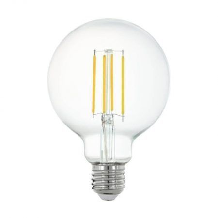 ampoule connectee led globe 95mm e27 806lm 60w blanc intensite variables eglo