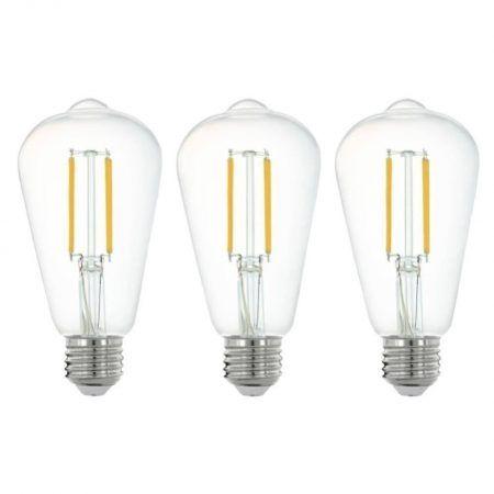 3 ampoules connectées led edison e27 806lm = 60w blanc + intensité variables, eglo