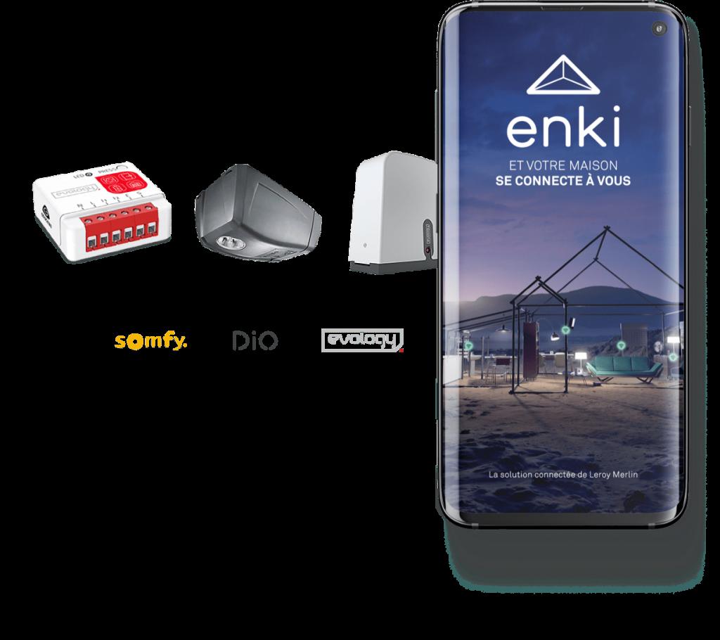 marques et produits de motorisation connectée compatibles enki