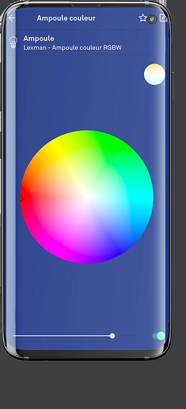choix de couleurs de l'éclairage dans l'application enki