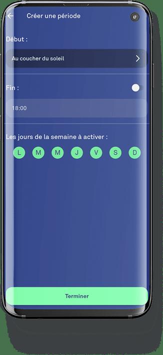application enki programmation des lumières