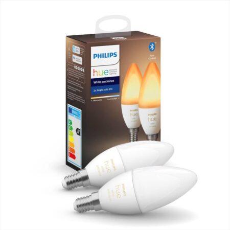 2 ampoules connectées led opaque flamme e14 470lm=40w variation blanc philips